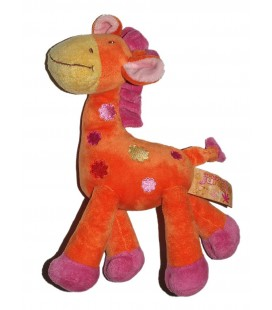 Doudou Girafe orange rose Orchestra Jungle
