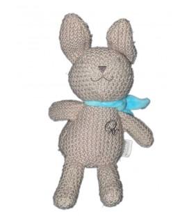 Doudou Lapin gris Orchestra Echarpe bleue laine tricot