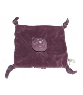 Doudou plat Chat violet parme mauve Bout'chou Monoprix 4 noeuds