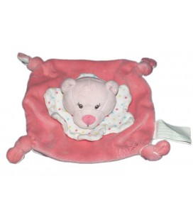 Doudou plat Ours Oursonne blanc rose Kimbaloo La Halle