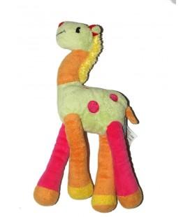 doudou-girafe-orange-vert-rose-comptoir-francais-de-la-mode-tcf-28-cm