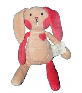Doudou Lapin rose coeur TCF Tout Compte Fait 27 cm