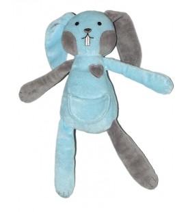 Doudou Lapin bleu coeur TCF Tout Compte Fait 27 cm