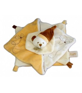 Doudou plat Ours Blanc caramel beige marron BABY NAT'