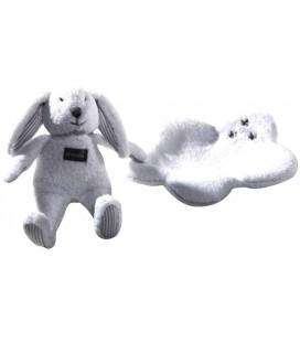 Doudou Lapin blanc Mouchoir Absorba Etoiles grises Grelot
