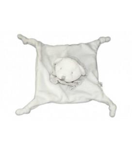 Doudou plat OURS blanc Grain de Blé Rayures grises 4 noeuds