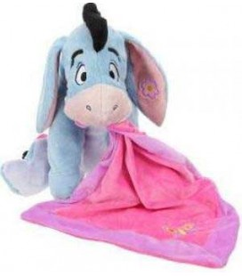 Doudou peluche BOURRIQUET Mouchoir Couverture rose Papillon