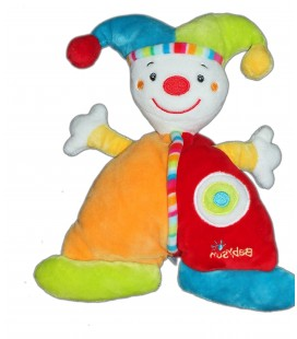 Doudou clown lutin rouge orange - BABYSUN 22 cm