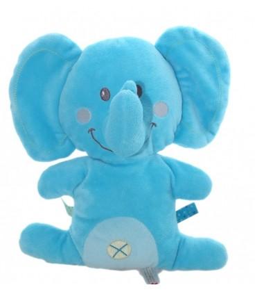 Doudou peluche coussin semi plat éléphant bleu Nicotoy 26 cm Nombril Croix 579/8830