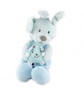 Doudou Peluche musicale LAPIN bleu Herisson TEX Baby Carrefour