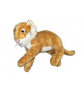 Grand doudou Peluche TIGRE marron Nicotoy - 50 cm + queue Rayures