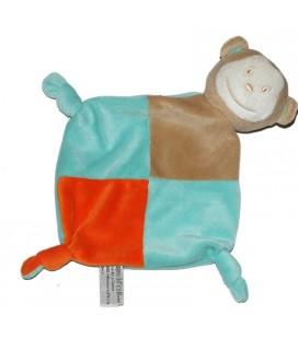 TAPE A L'OEIL - Doudou plat singe bleu orange gris TAO