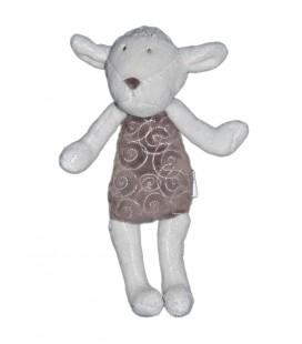 Doudou Mouton Obaibi blanc gris 27 cm