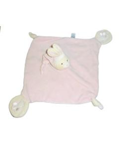 Doudou plat LAPIN rose - Empreintes - Carré 2 noeuds - GIPSY