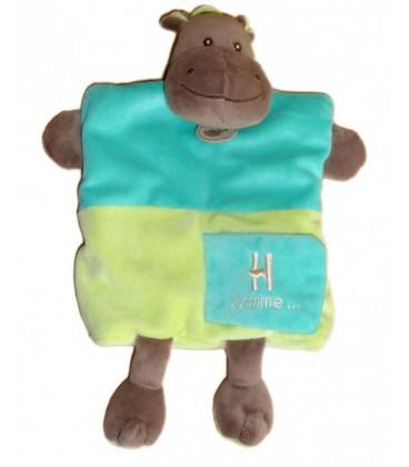 Doudou Marionnette - HIPPO HIPPOPOTaME Bleu Vert - BaBY NaT' Babynat
