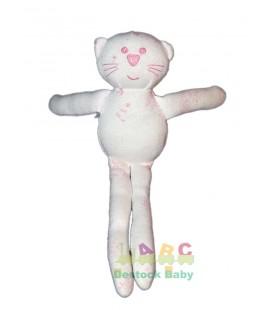Doudou Chat blanc rose Bout'chou Monoprix