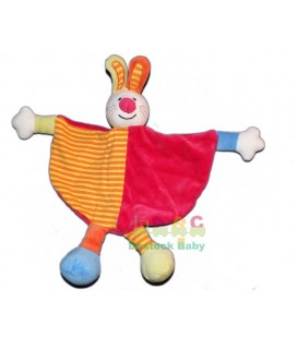 Doudou plat Lapin rose fushia orange MAXITA