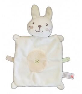 Doudou plat Lapin chat blanc beige croix nombril Nicotoy