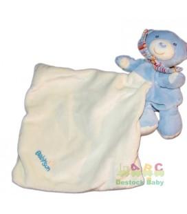 Doudou Ours bleu Mouchoir blanc Babysun Grelot