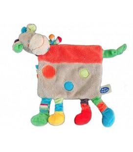 Doudou plat Vache Girafe Mots d Enfants Gris Ronds bleu rouge verts