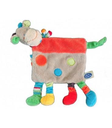 Doudou plat VaCHE Girafe MOTS D'ENFaNTS Siplec Gris Ronds bleu rouge verts