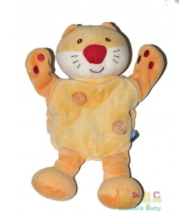 doudou-marionnette-chat-jaune-orange-sucre-d-orge