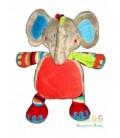 Doudou Elephant gris rond rouge Tex Baby Carrefour CMI 30 cm