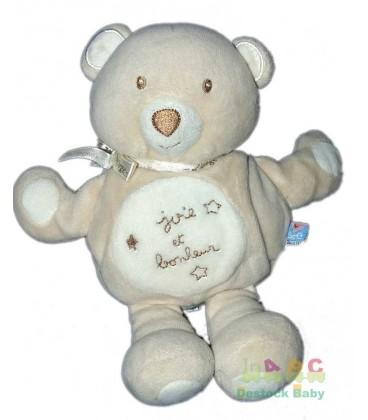 Doudou Ours beige Joie et Bonheur Sucre d Orge 20 cm