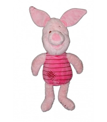 Doudou peluche Porcinet Rose mauve rayures coutures Zig Zag griffures Disney Nicotoy 587/4033 40 cm