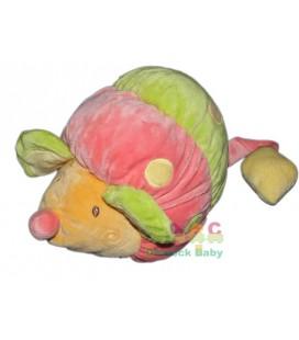 Doudou Souris rose vert orange Babysun Grelot 22 cm