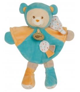 Doudou OURS Capucin bleu orange - BABY NAT' Babynat - BN712