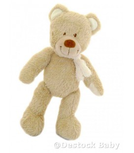 Doudou Ours beige Echarpe blanche Tex Baby Carrefour 29 cm