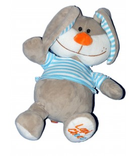 Peluche doudou LAPIN gris rayures bleues FIZZY - Lapin Choco - 32 cm