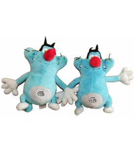 LOT - 2 doudous peluches OGGY et LES CAFARDS - 18 cm - Jemini Xylam Animation 2010