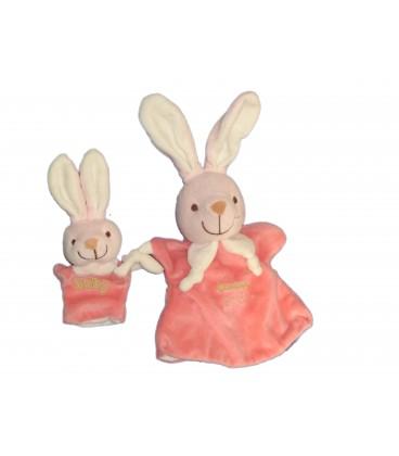 Doudou Marionnette LAPIN rose Maman et Bébé (- PLAYKIDS - CMI