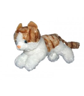 Doudou peluche chat blanc roux Max et Sax 30 cm TY021963