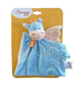 Doudou plat dragon bleu Bengy