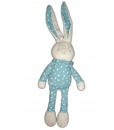 DouDou peluche LAPIN bleu bébé Laboratoires KLORANE 38 cm Tissu étoiles