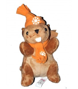 peluche-cajounours-marmotte-marron-startoy-26-cm-bonnet-echarpe-orange-flocon