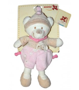 Doudou ours beige rose Nicotoy 579/0160 22 cm