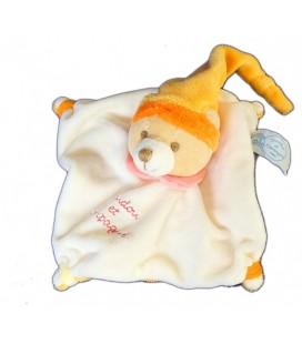 DOUDOU ET COMPaGNIE - LaPIN plat blanc écru orange Col rose - 15x15 cm