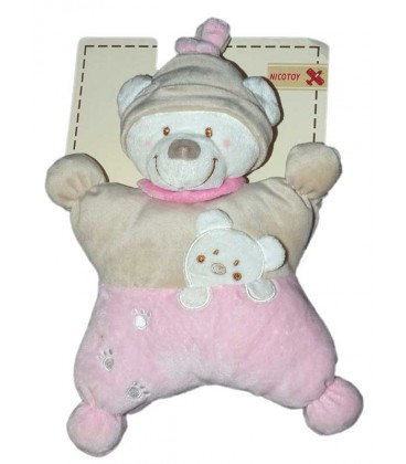 doudou-ours-beige-rose-coussin-semi-plat-nicotoy-5790162-28-cm