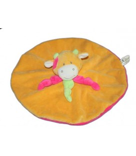 Doudou plat rond vache orange rose Maxita