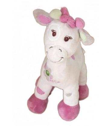 Doudou peluche girafe rose mauve Bebisol Arthur et Lola 26 cm