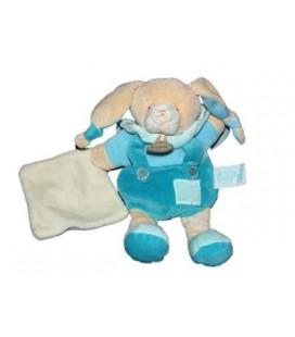 Babynat Doudou Lapin bleu mouchoir blanc 25 cm Les Mem' pacap