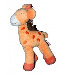 Doudou girafe orange Laine marron Orchestra 26 cm