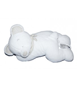 Doudou Peluche musicale ours blanc beige Nicotoy 28 cm 5795385