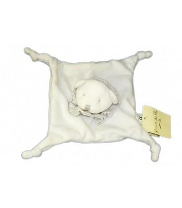 Doudou plat OURS blanc GRAIN DE BLE - Rayures grises - 4 noeuds