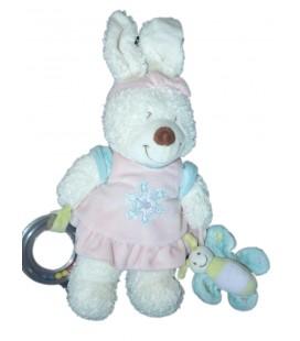 Doudou d'éveil lapin blanc Robe rose Fleurs TEX Baby CMI Carrefour H 38 cm Hochet Papillon