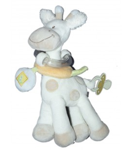 Doudou d'éveil Girafe blanche TEX Baby Carrefour 26 cm Grelot